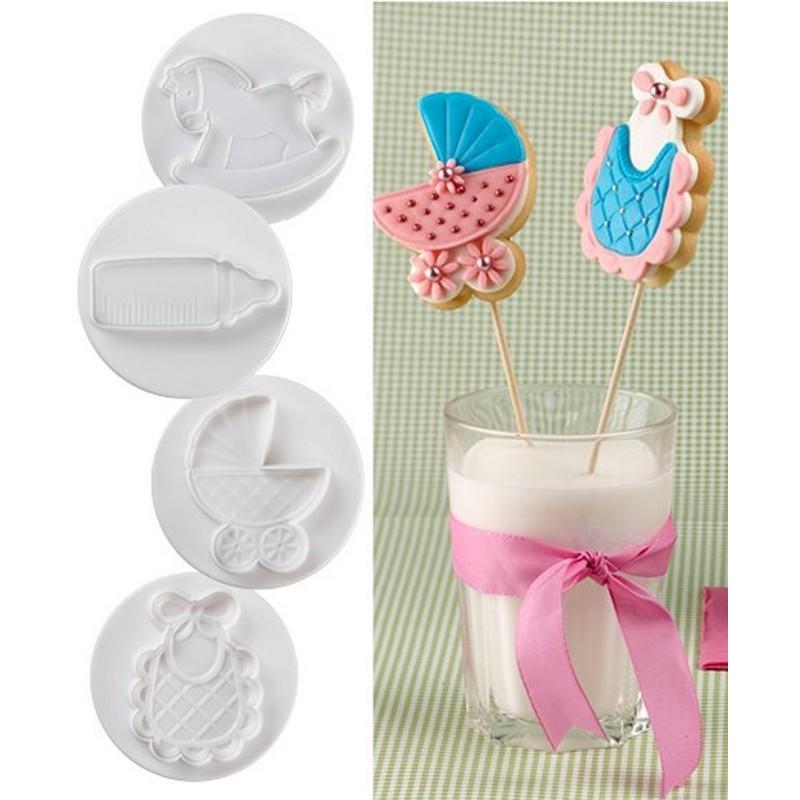 Set 4 Stampi Ad Espulsione Per Biscotti Tema Baby Pavoni