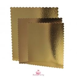 Vassoi sotto torta quadrato oro con smerlo