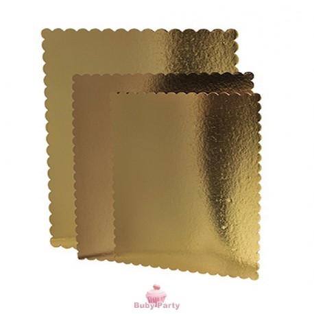 Vassoi sotto torta rettangolare oro con smerlo