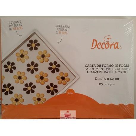 Fogli carta forno antiaderenti 25 pz Decora
