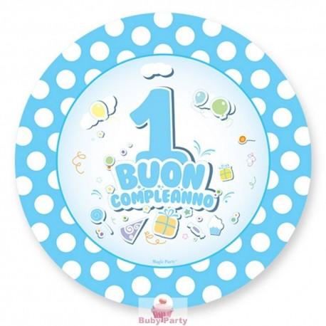 Piattini buon primo compleanno celeste 10 pz