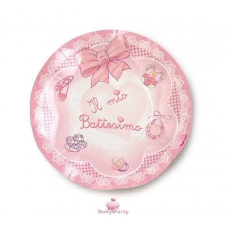 Piattini il mio Battesimo rosa 10 pz