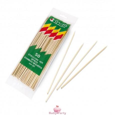 50 Stecconi Per Spiedini In Bamboo Naturale