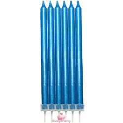 6 Candele Satinate Blu Con Basi 13 Cm
