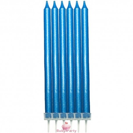 Candele per torta perlescenti azzurre 12 pz