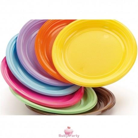 30 piatti in plastica rigida colorati dopla buby party store - Piatti plastica ikea ...