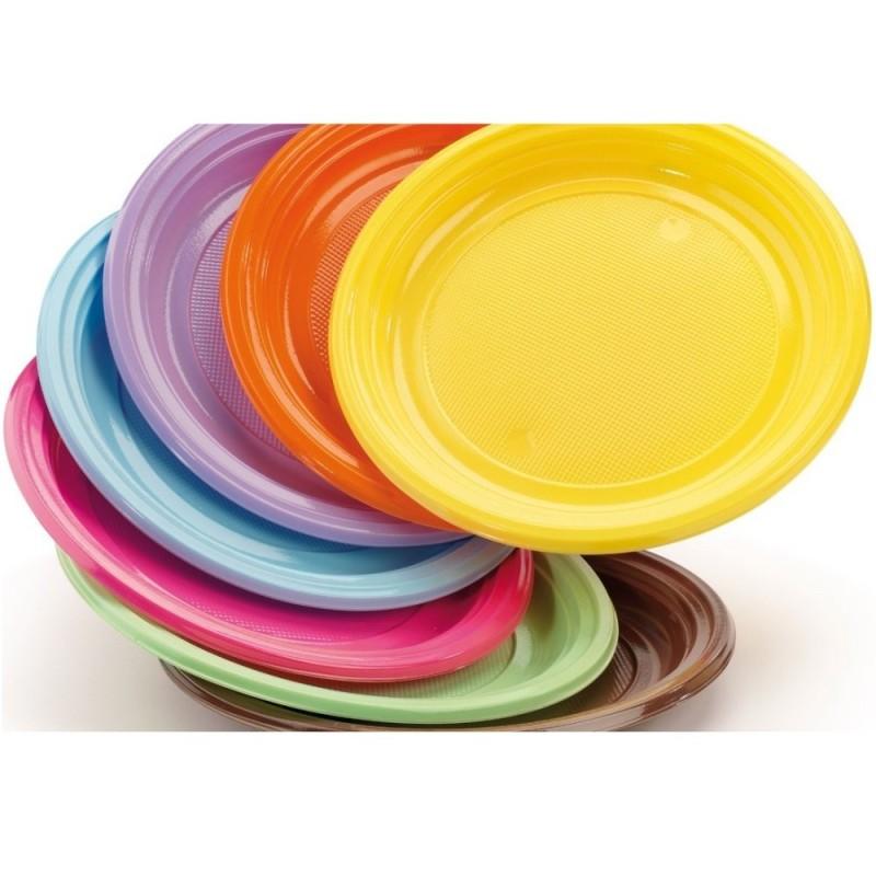 30 Piatti In Plastica Rigida Colorati DOpla