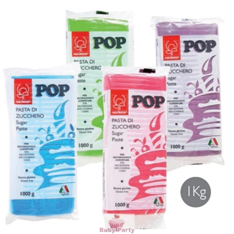 Pasta di zucchero colorata pop 1 kg modecor buby party store for Cucinare 1 kg di pasta