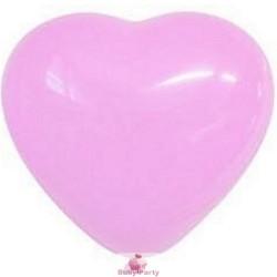 10 Palloncini Cuore Rosa In Lattice Gonfiaggio Aria O Gas Elio