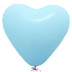 Palloncini a cuore celeste in lattice 10 pz gonfiaggio aria o gas elio