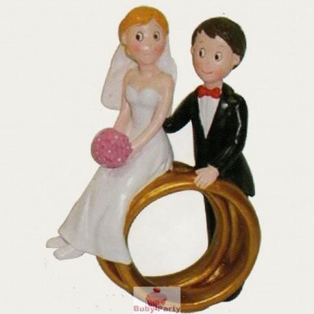 Topper Cake Matrimonio Sposi Con Fedi Per Torta Nuziale