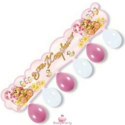 Festone kit buon 1° compleanno rosa 110 cm