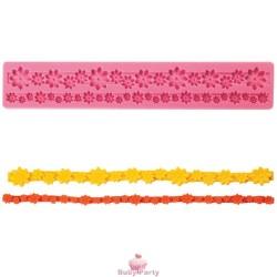 Stampo in silicone per bordure con pasta di zucchero motivo fiori
