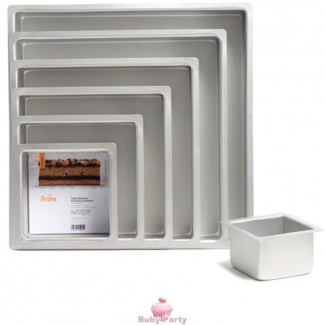 Teglia professionale quadrata in alluminio bordo dritto alto cm 10 Decora