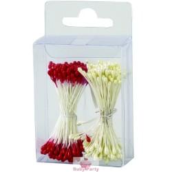 Pistilli per fiori perla e rossi 288 pz Decora