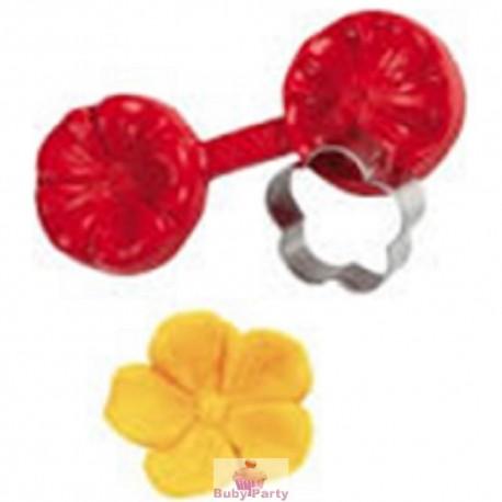 Stampo in silicone fiore di ciliegio con tagliapasta e venatore Pavoni 2 pz