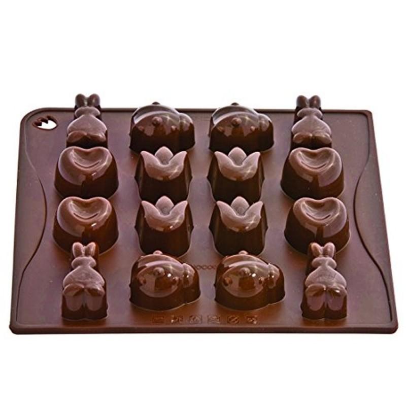Stampo In Silicone Per Cioccolatini A Cuore Coccinella Fiore E Coniglio Pavoni