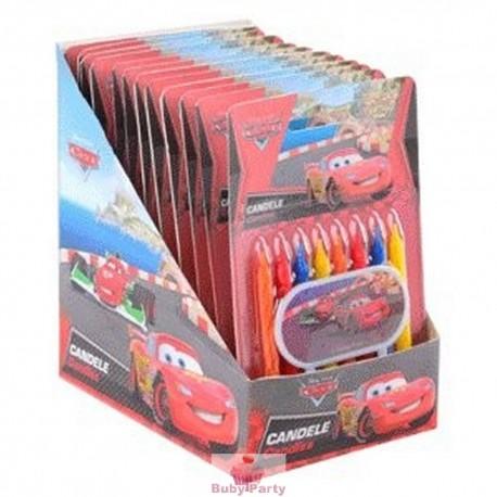 Candeline Cars Con Targhetta Per Torta Compleanno 9 pz
