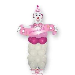 Clown di palloncini rosa personalizzabile 160 cm