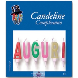 6 Candeline Colorate Scritta Auguri Magic Party