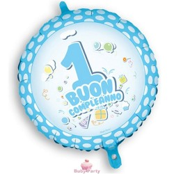 Palloncino Mylar Buon 1° Compleanno Celeste cm 45 Magic Party