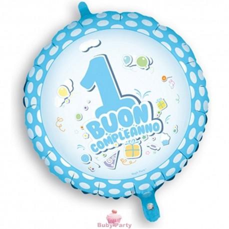 Palloncino mylar buon primo compleanno celeste 45 cm