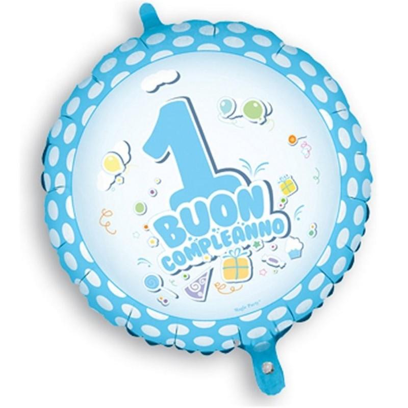 Palloncino Mylar Buon 1° Compleanno Celeste cm 45 Magic Party