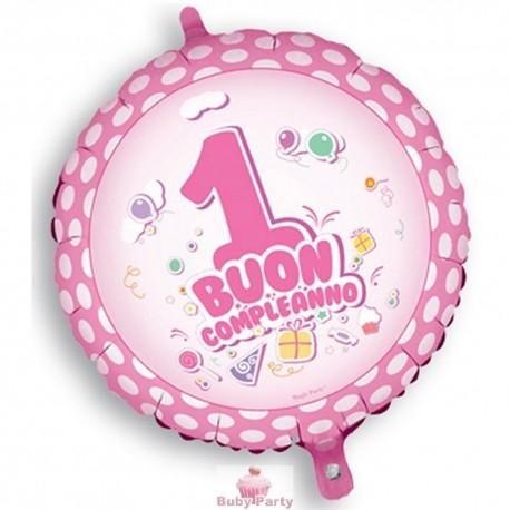 Palloncino mylar buon primo compleanno rosa 45 cm