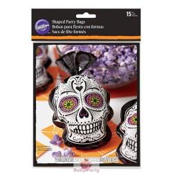 Sacchetti porta dolcetti di Halloween con teschio 15 pz Wilton