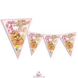 Bandierine rosa Buon 1° Compleanno 3,60 mt Magic Party