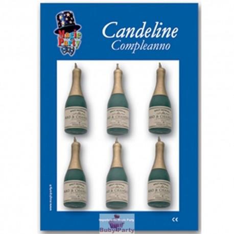 6 Candeline Torta Forma Bottiglia Champagne Magic Party