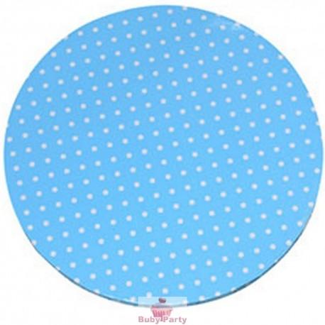 Piatto sottotorta tondo azzurro a pois Modecor D 30 cm