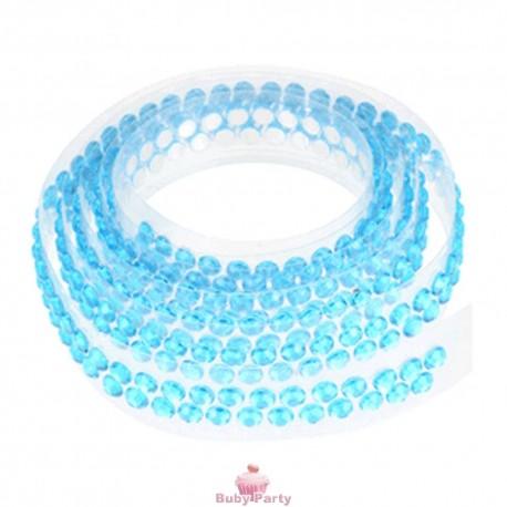 Nastrino con strass adesivo azzurro per torte decorate 90 cm
