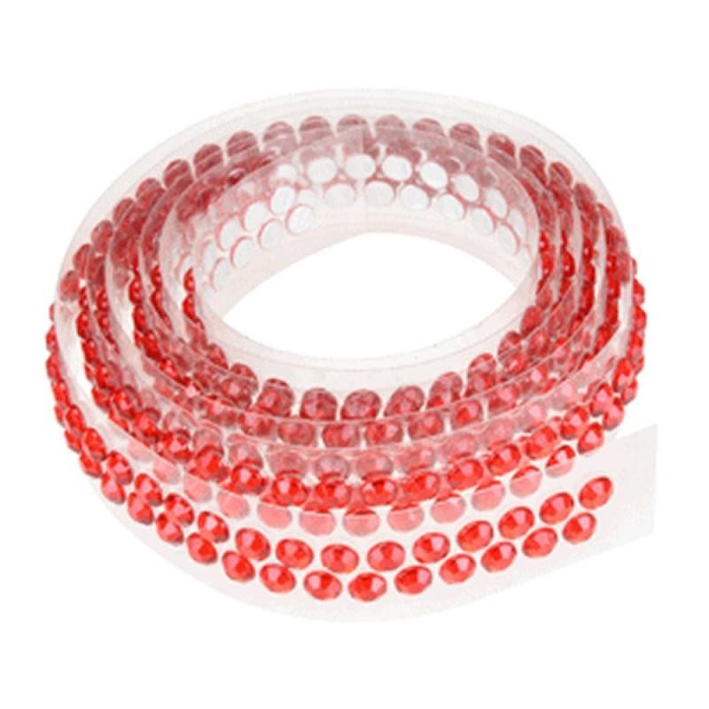 Nastrino Con Strass Adesivo Rosso Per Torte Decorate 90 cm