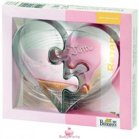 Tagliapasta forma cuore puzzle per biscotti romantici Birkmann