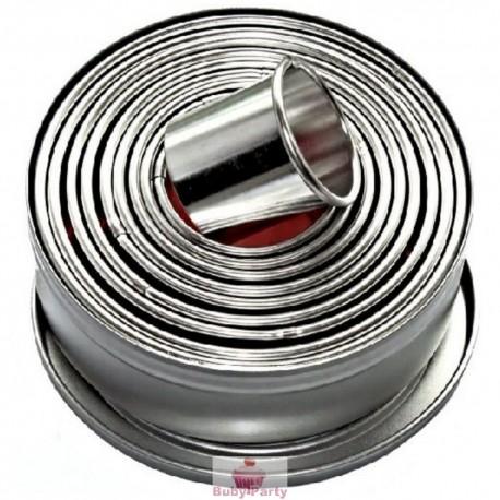 Set coppapasta in metallo cerchi lisci Pavoni 9 pz