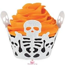Avvolgi muffin scheletro Halloween 18 pz