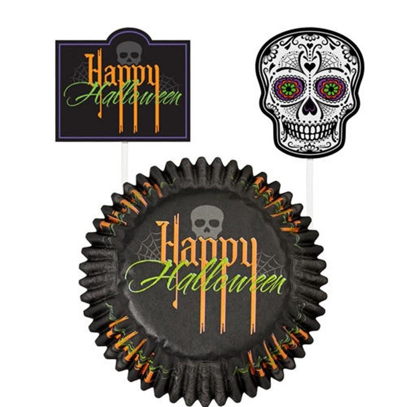 24 Pirottini Happy Halloween Con Pick Wilton