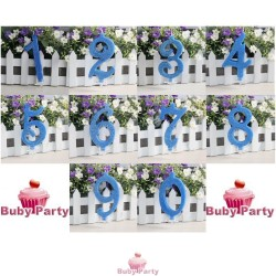 Candela Numerale In Cera Glitterata Azzurra Per Torta Compleanno