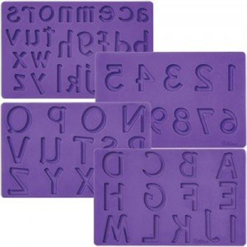 Set 4 Stampi In Silicone Alfanumerico Wilton