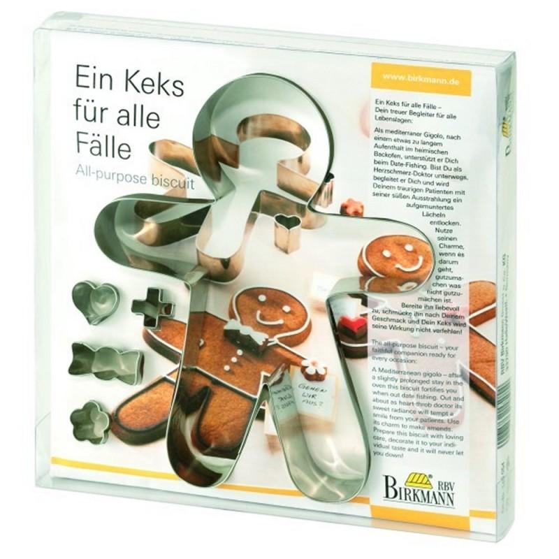 Set 5 Tagliapasta In Metallo Omino Ginger 20 cm Birkmann