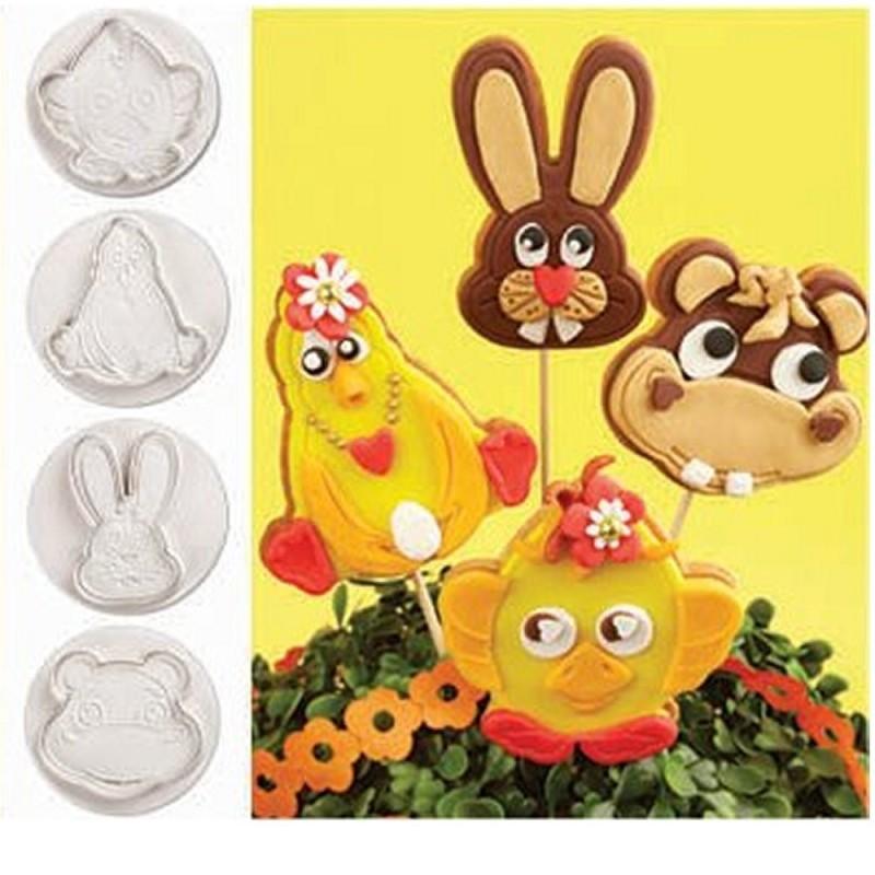 Set 4 Stampi Ad Espulsione Per Biscotti Animali Pasquali Pavoni