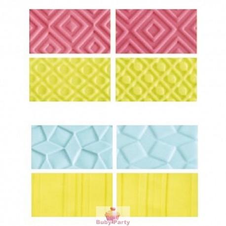 Kit fogli decorativi per pasta di zucchero forme geometriche 4 pz