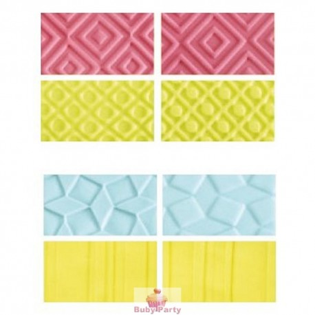 Set 4 Fogli Decorativi Per Pasta Di Zucchero Forme Geometriche