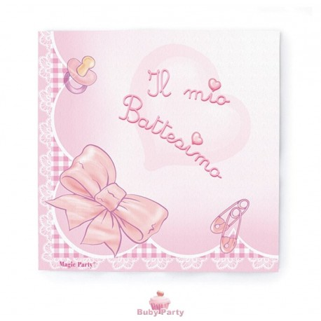 20 Tovaglioli Il Mio Battesimo Rosa Magic Party Buby Party Store