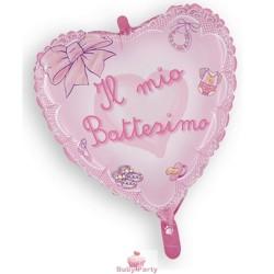 Palloncino mylar Battesimo rosa a forma di cuore