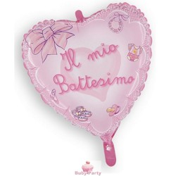 Palloncino mylar Battesimo rosa a forma di cuore cm 45 Magic Party