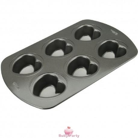 Stampo in alluminio antiaderente per mini torte a cuore 6 cavità