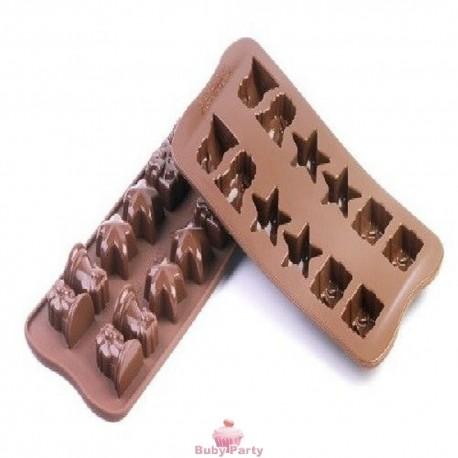 Stampo In Silicone Per Cioccolatini Natalizi Stella Campana Pacco Regalo Silikomart