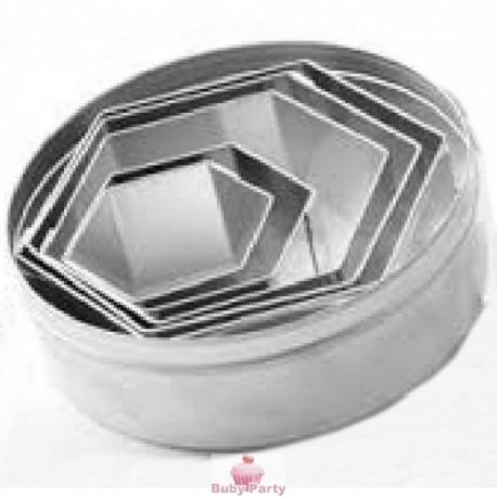 Set coppapasta in metallo esagonali lisci Pavoni 6 pz
